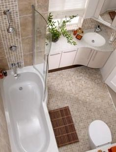Choosing fitted furniture will streamline the bathroom helping to give the illusion of more space.