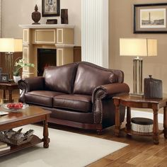 Myles Traditional Chocolate Bonded Leather Rolled Arm Loveseat   Overstock.com Shopping - The Best Deals on Sofas & Loveseats