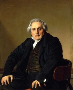 "Ingres, portrait of Louis-Francois Bertin. There is something uneasy, even pervy, about Ingres paintings of women - the ultra-smooth surfaces, the stiff, contrived poses, the blank eyes - they are more blow-up dolls than women, even the portraits. Ingres could not ""get"" this sitter, until he hunched forward in impatience and Ingres cried (in French of course) - ""Hold it right there."""