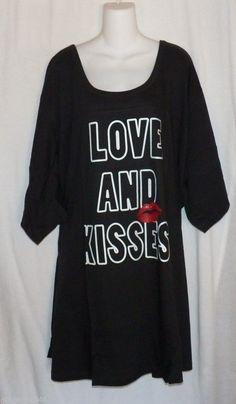 Black Nightgown Plus Size 5X-6X Dreams and Company Cotton
