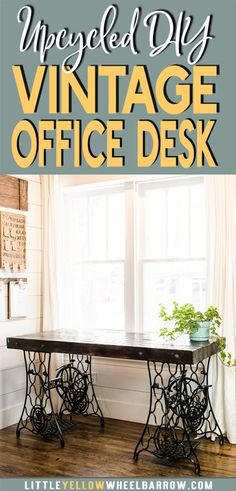 Rustic DIY Desk made from two vintage singer sewing machines. A wooden desktop and wrought iron legs create a beautiful farmhouse style desk.