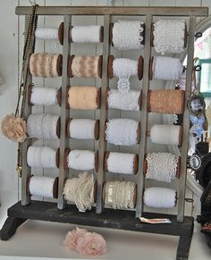 Great way to store vintage lace in the crafting studio :)