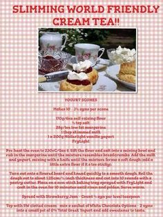 Slimming World friendly cream tea Slimming World Deserts, Slimming World Puddings, Slimming World Tips, Slimming Word, Slimming World Recipes, Sw Meals, Get Thin, Cream Tea, Afternoon Tea