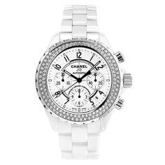 Chanel J12 Chronograph Automatic White Ceramic & Diamonds (H1008)