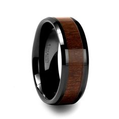 AGENT BlackonBlack Ceramic Ring with Black Walnut Wood Inlay and Beveled Edges - 8mm Wedding Ring Designs, Cool Wedding Rings, Wedding Ring Bands, Black Flats, Mens Style Guide, Watches For Men, Jewelry Design, Jewelry Stores Near Me, Engagement Rings