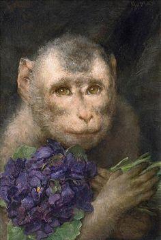 Monkey with Bouquet by Gabriel Cornelius Ritter von Max Paint Monkey, Monkey Art, Gabriel, Purple Art, Universe Art, Cornelius, Exotic Pets, Beautiful Paintings, Art World