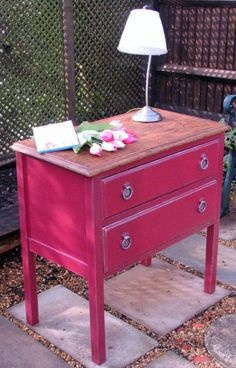 Shabby Chic Red Painted Chest of Drawers by giddygoathandpaintedfurniture. Farrow & Ball Radicchio Estate Eggshell paint has been applied with a touch of silver wax to highlight the detail, and the solid wood top has been finished with Briwax for protection.