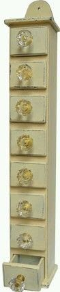 Primitive Vintage Style Antique White Wood Spice Rack Apothecary Drawer Cabinet...$24.99
