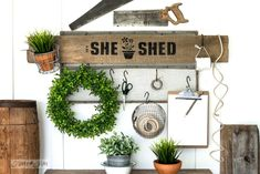 She Shed soil sifter gardening station sign. Stencil your own She Shed sign onto a board in minutes using Potting Shed from Funky Junk& Old Sign Stencils! Ikea Crates, Crate Side Table, Rustic Shed, Driftwood Stain, Wood Walkway, Shed Signs, Palette, Funky Junk Interiors, Sign Stencils