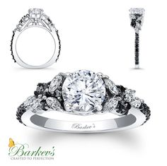 @barkevs  BLACK DIAMOND ENGAGEMENT RING STYLE # 7932LBK  An exquisite black and white diamond engagement ring, featuring a white gold shank with a prong set round diamond center. The cathedral shoulders are adorned with white marquise cut diamonds artfully arranged, while small round, shared prong set, black diamonds accent the shoulders for an elegant touch of glam.  Also available in white, yellow gold, 18k and Platinum.