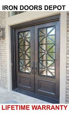 double front entry doors Iron Doors Depot - Double Front Entry Modern Iron Door with Operable Glass Double Front Entry Doors, Iron Front Door, Front Door Entrance, Door Entryway, Exterior Front Doors, House Front Door, Front Door Decor, Patio Doors, Front Door Design