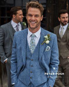 Sky Blue Suit, Blue Tweed Suit, Blue Linen Suit, Linen Suits For Men, Blue Suit Men, Mens Tweed Suit, Blue Tweed Wedding Suits, Wedding Suit Hire, Blue And Blush Wedding