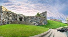 Suomenlinna fortress landscape in Helsinki, Finland. Helsinki, Island, Sea, Mansions, Landscape, House Styles, City, World, Travel