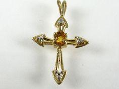 Estate 10k Yellow Gold .20ct Natural Citrine & Diamond Cross Pendant 1g