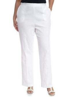 Alfred Dunner White Plus Warm Cable Beach Proportion Medium Pant