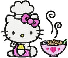 Chinese Embroidery | Hello Kitty loves Chinese food machine embroidery design