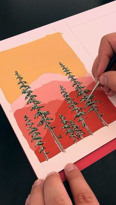 Painting Mountains and Pine Trees by Philip Boelter 🎨🌲 Gouache is my favorite medium. I love how vibrant it is and how smooth it goes on. I think another favorite thing about gouache is that you can layer on top… Continue Reading → Aesthetic Painting, Aesthetic Art, Aesthetic Drawings, Aesthetic Videos, Aesthetic Fashion, Inspiration Art, Art Inspo, Gouache Painting, Watercolor Paintings