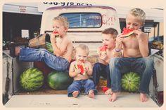 The Boys of Summer. Watermelon photo shoot! Boys will be boys!  https://www.facebook.com/photo.php?fbid=714108678656795&set=a.714108495323480.1073742279.133234533410882&type=1&theater  www.facebook.com/irisheyesphotography