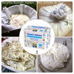 Boursin maison ★ au frais 3 jours : 12 yaourts nature ds t-shirt & passoire (ac récipient pr récupérer l'eau). Ajouter des herbes, de l'ail, des épices.