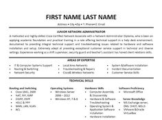 Click Here to Download this Junior Network Administrator Resume Template! http://www.resumetemplates101.com/templates.php