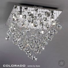 IL30788 Colorado Crystal Ceiling Light - The stunning 5 light square Colorado crystal flush ceiling fitting with a polished chrome wall brack