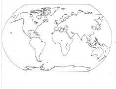 Mapa De Los Continentes blanco y negro para imprimir
