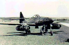 Messerschmitt (Me-262): A jet fighter at an airfield in 1945.