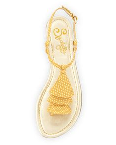 Cruel World Polka-Dot Flat Sandals, Mustard - Last Call by Neiman Marcus