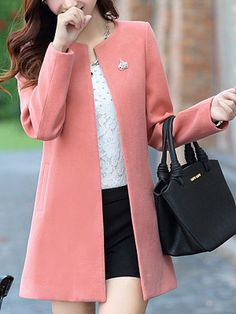 Collarless Solid Pocket Woolen Trench Coat Find latest women's clothing, dresses, tops, outerwear, and other fashion clothing and enjoy the worldwide shipping # Outfit Essentials, Cord Jacket, Coats For Women, Clothes For Women, Clothes Uk, Coat Dress, Outerwear Women, Cheap Fashion, Latest Fashion