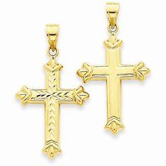 14k Yellow Gold Reversible D.C Cross Pendant