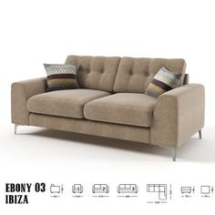 Ebony 3 sz kanapé bézs