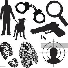 Crime, punishment, police and detective symbols and silhouettes.