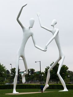 Dancers - sculpture by Jonathan Borofsky. Between the theatres of the Denver Performing Arts Complex, Speer Boulevard and Cherry Creek is Sculpture Park. IMG_1982 LR by StevenC_in_NYC, via Flickr