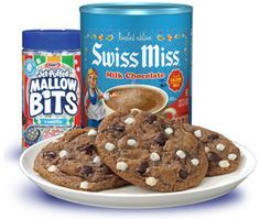 Found these in the Sunday Newspaper. Ingredients 1-1/4 cups butter, softened 1 cup granulated sugar 2/3 cup packed brown sugar 2 eggs 1 teaspoon vanilla 3-1/4 cups flour 3/4 cup or 4 envelopes Swiss Miss® Milk Chocolate Hot Cocoa Mix (Do not use No Sugar Added mix) 1-1/4 teaspoons baking soda 1 teaspoon baking powder 1 cup semi–sweet chocolate chips 1 cup Kraft® Jet-Puffed® Vanilla Mallow Bits