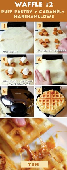 Here's how to make it: 1. Roll out a piece of puff pastry dough so it's in a thin rectangle that's about double the length of your waffle maker. Spray your waffle maker with cooking spray, and lay the puff pastry so one of the short edges touches the inside of your waffle maker. 2. Put three or four caramels in each section of your waffle maker. 3. Put one marshmallow on top of each caramel. 4. Fold over the excess puff pastry so it covers your caramels and marshmallows. Gently press down on…