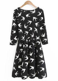 Black and White Swallow Print Three Quarter Sleeve Dress
