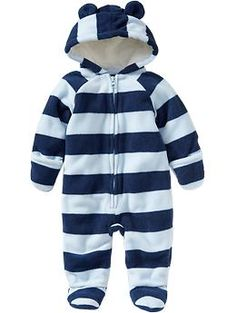 Micro Performance Fleece Footed One-Pieces for Baby | Old Navy