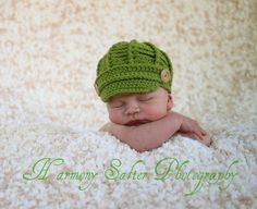 PDF Newsboy Hat PATTERN - Baby Newsboy Hat - Newborn  and 0 - 3 month Sizes -Crochet Newsboy Hat -  by JoJosBootique. $5.00, via Etsy.