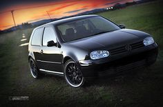 Mk4 Golf with black wheels and blacked-out badging.