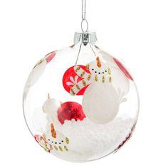 Boule de Noël en verre D 8 cm BONHOMME DE NEIGE - Vendu par 6
