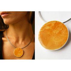 FREE Shipping Genuine Baltic Amber Pendant, Silver 925, round, YELLOW, amberstone New, UNIQUE von JewellryWithSoul auf Etsy