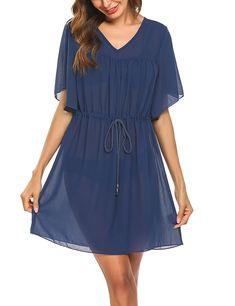c294b18eddd5 Women s Bathing Suit Cover Up Chiffon Bikini Swimsuit Swimwear Beach Dress  - Navy Blue - CP180A4D730