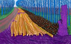 David Hockney 'Winter Timber, Oil on 15 canvases, Private Collection, Copyright David Hockney Photo credit: Jonathan Wilkinson. David Hockney A Bigger Picture exhibition at the Royal Academy … David Hockney Landscapes, David Hockney Paintings, Ipad Art, David Hockney Ipad, Ipad Kunst, Guggenheim Bilbao, Blog Art, Pop Art Movement, Kunst Online