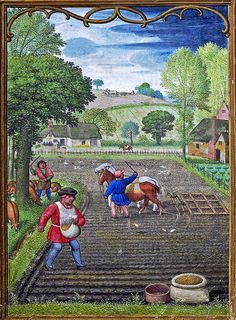 September 1 - Hennessy Book of Hours - miniaturist: Simon Benning - Flanders, - Bruxelles, Bibliothèque royale Albert Ier, ms. Medieval Life, Medieval Art, Medieval Fashion, Renaissance, Medieval Manuscript, Illuminated Manuscript, September Images, September 1, Medieval Paintings