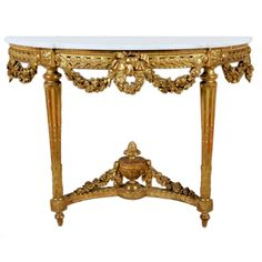 Fine Louis XVI Giltwood Console Table   From a unique collection of antique and modern console tables at https://www.1stdibs.com/furniture/tables/console-tables/