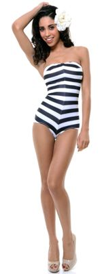 Black & White Striped Barbie One Piece Swimsuit - unique-vintage.com