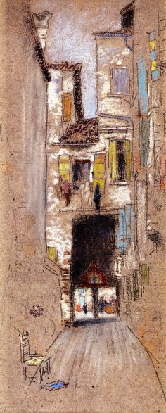 """Sotto Portico - San Giacomo,"" James Abbott McNeill Whistler, 1879-1880, pastel   and charcoal on brown paper, 12 x 5"", Virginia Museum of Fine Arts."