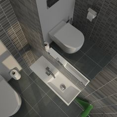 Clou - Top view of our 'Mini Wash Me' concept toilet. In this toilet we used a 'Mini Wash Me' wash-hand basin made of aluite with a width of 56 cm. The tap we used is our 'Freddo' type 5 and the mirror is from our 'Wash Me' series.