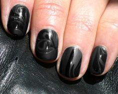 black matte marble with gloss nail design
