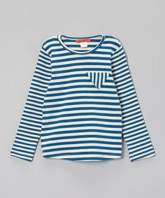 Take a look at this Blue & White Stripe Triangle Tee - Toddler & Girls by Funkyberry on #zulily today!